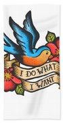 I Do What I Want Vintage Bluebird And Rose Tattoo Bath Towel