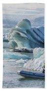 Icebergs On Jokulsarlon Lagoon In Iceland Bath Towel