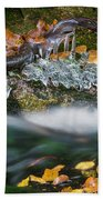 Icy Foliage Stream Bath Towel