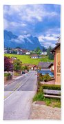 Idyllic Alpine Town Of Kastelruth Architecture And Mountains Vie Hand Towel