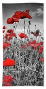 Idyllic Field Of Poppies Colorkey Hand Towel