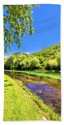 Idyllic Krka River In Knin Landscape Bath Towel