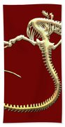 Iguana Skeleton In Gold On Red  Bath Towel