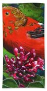 IIwi Scarlet Honeycreeper Bird #339 Hand Towel