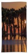 Illuminated Palm Trees Hand Towel