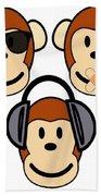 Illustration Of Cartoon Three Monkeys See Hear Speak No Evil Bath Towel