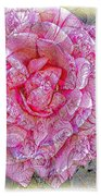 Illustration Rose Pink Bath Towel