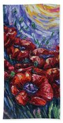 Impressionist Field Poppies Bath Towel