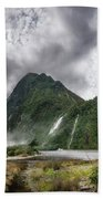 Impressive Weather Conditions At Milford Sound Bath Towel