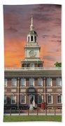 Independence Hall Philadelphia Sunset Bath Towel