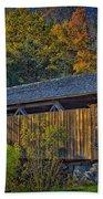 Indian Creek Covered Bridge In Fall Bath Towel