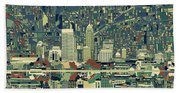 Indianapolis Skyline Abstract 3 Bath Towel