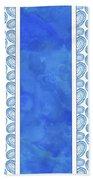 Indigo Amoeba Abstract Tribal Watercolor Bath Towel