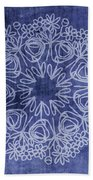 Indigo Mandala 1- Art By Linda Woods Bath Towel