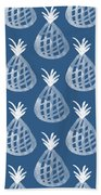 Indigo Pineapple Party Hand Towel by Linda Woods
