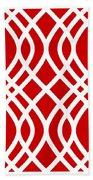 Intertwine Latticework With Border In Red Bath Towel