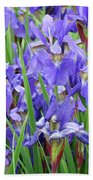 Iris Flowers Artwork Purple Irises 9 Botanical Garden Floral Art Baslee Troutman Bath Towel