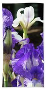 Iris Flowers Floral Art Prints Purple Irises Baslee Troutman Bath Towel