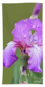 Iris In Summer Rain  Bath Towel