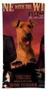 Irish Terrier Art Canvas Print - Gone To The Wind Movie Poster Bath Towel