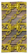 Iron Chains With Wood Texture Bath Towel