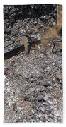 Iron Raw Materials Recycling Pile, Work Machines.  Bath Towel