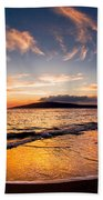 Island Gold - An Amazingly Golden Sunset On The Beach In Hawaii Bath Towel