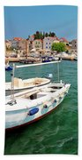 Island Of Prvic Turquoise Harbor And Waterfront View In Sepurine Bath Towel
