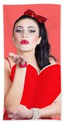 Isolated Pin Up Woman Holding A Heart Shaped Sign Bath Towel