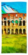 Italian Aerobatics Team Over The Colosseum Bath Towel