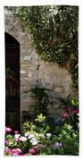 Italian Front Door Adorned With Flowers Bath Towel