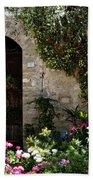 Italian Front Door Adorned With Flowers Bath Towel