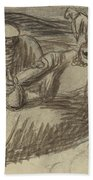 Italian Peasants With Wine Flasks Bath Towel
