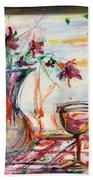 Italian Wine And Flower Vase On Table Bath Towel