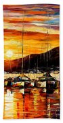 Italy - Naples Harbor- Vesuvius Bath Towel