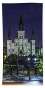 Jackson Square And St. Louis Cathedral At Dawn, New Orleans, Louisiana Bath Towel