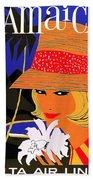 Jamaica, Woman With Orange Hat Bath Towel