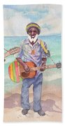 Jamaican Musician Watercolor Bath Towel