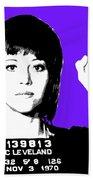 Jane Fonda Mug Shot - Purple Bath Towel