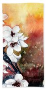 Japanese Cherry Blossom Abstract Flowers Bath Towel