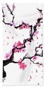 Japanese Cherry Blossoms Bath Towel