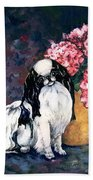 Japanese Chin And Hydrangeas Bath Towel