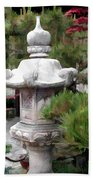 Japanese Garden Stone Lantern Statue Bath Towel