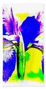 Japanese Iris Pop Art Abstract Bath Towel