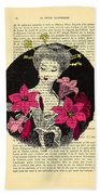 Japanese Lady With Cherry Blossoms Bath Towel