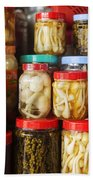 Jars Of Asian Style Pickles In Kep Market Cambodia Bath Towel