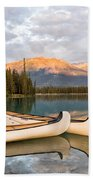 Jasper Lake Canoes Bath Towel