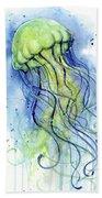 Jellyfish Watercolor Bath Towel