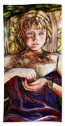 Girl And Bird Painting Bath Towel