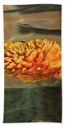 Jewel Drops - Orange Chrysanthemum Bloom Floating In A Fountain Bath Towel